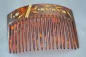 Hair Comb - Early 20th Century - Celluloid with Inlaid Ivorine Flowers and Leaves and inset Paste Jewels (SOLD)